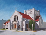 Religious Artist Painting Metal Prints - St Paul Lutheran Church Charleston WV Metal Print by Keith Johnson