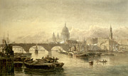 Barge Posters - St Paul s Cathedral and London Bridge from the Surrey Side Poster by Edward Angelo Goodall