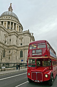 London Cityscape Art - St Pauls and red London bus by Gary Eason