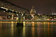 London Skyline Art - St Pauls and The Bridge by Malcolm Smith