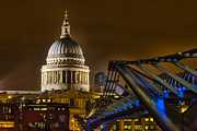 London At Night Framed Prints - St Pauls and the Millennium Bridge Framed Print by Ian Hufton