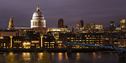 Lights Digital Art Originals - St Pauls at night by Nigel Kenny
