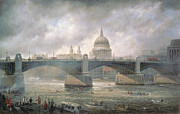 Boats In Water Painting Posters - St. Pauls Cathedral from the Southwark Bank Poster by Richard Willis