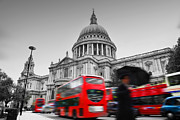 Famous Art - St Pauls Cathedral in London UK Red buses in motion by Michal Bednarek