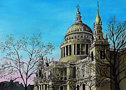 Cathedral Paintings - St Pauls Cathedral London by Mary Susanna Turcotte