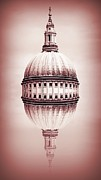 London Skyline Digital Art Prints - St Pauls Dome Print by Sharon Lisa Clarke