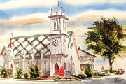 Water Colours Framed Prints - St. Pauls Episcopal Church II Framed Print by Kip DeVore
