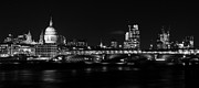 Night Pyrography Prints - St Pauls London Cityscape  Print by Karl Wilson