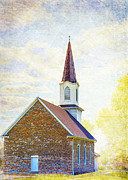 Small Town Digital Art Prints - St Pauls Lutheran Church Print by Bill Tiepelman
