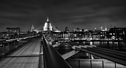 London At Night Framed Prints - St Pauls with the Millennium bridge Framed Print by Ian Hufton