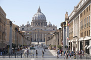 Catholicism Prints - St Peter Basilica viewed from Via della Conciliazione. Rome Print by Bernard Jaubert