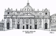 Historic Buildings Of The World - Pen And Ink Drawings Of Historic Buildings - St Peters Basilica by Frederic Kohli