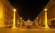 Nights Metal Prints - St. Peters Basilica. Via della Conziliazione. Rome Metal Print by Bernard Jaubert