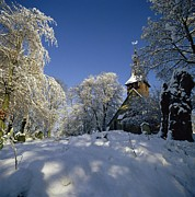 Winter Trees Photos - St Peters Church in the Snow by Robert Hallmann