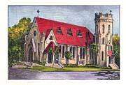 Red Roof Mixed Media Prints - St. Peters Episcopal Church Print by Diana  Tyson