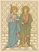 Religious Drawings Framed Prints - St Philip and St James Framed Print by English School