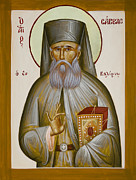 St Savvas Of Kalymnos Painting Prints - St Savvas of Kalymnos Print by Julia Bridget Hayes