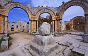 Qalat Framed Prints - St Simeons pillar in the ruins of the church of St Simeon Syria Framed Print by Robert Preston