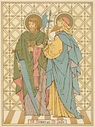 Religious Drawings Metal Prints - St Simon and St Jude Metal Print by English School