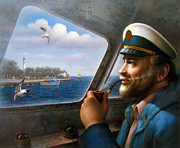 Smoke Painting Originals - St. Simons Island Sea Captain 4 by Yoo Choong Yeul