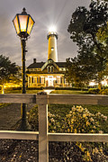 St. Simons Lighthouse Print by Debra and Dave Vanderlaan