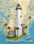 East Coast Lighthouse Paintings - St Simons Lighthouse GA Nautical Chart Map Art Cathy Peek by Cathy Peek