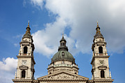 Clocktower Prints - St. Stephens Basilica Dome and Bell Towers Print by Artur Bogacki