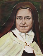 Christian Artwork Painting Acrylic Prints - St. Therese of Lisieux Acrylic Print by Sheila Diemert