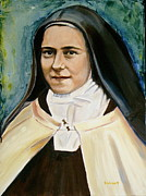 Christian Artwork Painting Acrylic Prints - St. Therese Acrylic Print by Sheila Diemert