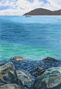 Ocean Shore Pastels Prints - St. Thomas Blues Print by Angela Bruskotter