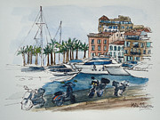 South Of France Mixed Media - St Tropez by Helen J Pearson