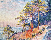 Tropez Framed Prints - St Tropez the Customs Path Framed Print by Paul Signac