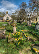 Adrian Evans Art - St Tysilio Graveyard by Adrian Evans