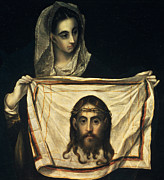 Old Face Framed Prints - St Veronica with the Holy Shroud Framed Print by El Greco Domenico Theotocopuli