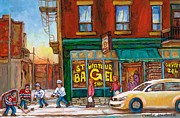 St. Viateur Bagel-boys Playing Street Hockey In Laneway-montreal Street Scene Painting Print by Carole Spandau