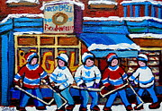 Store Fronts Painting Prints - St Viateur Bagel Hockey Game Montreal City Scene Print by Carole Spandau