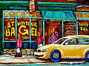 Montreal Landmarks Paintings - St. Viateur Famous Bagel Shop In Winter Montreal Street Scene Painting By Carole Spandau by Carole Spandau