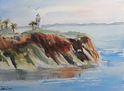Impressionisttic Paintings - St Vicente Lighthouse by Dodie Davis
