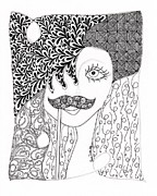 Original Pen And Ink Drawing Prints - Stache Lady Print by Paula Dickerhoff