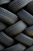 Recycle Prints - Stack of old tires - vertical Print by Loree Johnson
