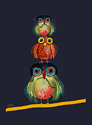 Baptism Gift Posters - Stack of Owls Poster by Karin Taylor
