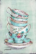 Tea Cups Paintings - Stacked Aqua Themed Tea Cups by Gail McCormack