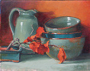 Pottery Pitcher Painting Prints - Stacked Bowls #4 Print by Jean Crow