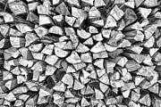 Cabin Wall Photos - Stacked Firewood by David Letts