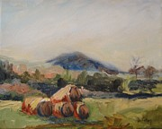 Hay Bales Paintings - Stacked Hay Bales by Donna Tuten