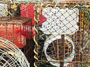 Entrap Framed Prints - Stacked lobster basket traps to catch in the ocean Framed Print by Stephan Pietzko