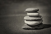 Round Photos - Stacked pebbles on beach by Elena Elisseeva