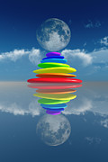 Close Focus Nature Scene Digital Art - Stacked Rainbow Colored Stones by Aleksey Tugolukov