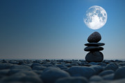 Close Focus Nature Scene Digital Art - Stacked Stones In Moonlight by Aleksey Tugolukov