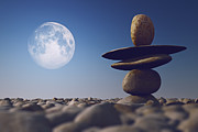 Close Focus Nature Scene Digital Art - Stacked Stones In Sunlight Witt Moon by Aleksey Tugolukov
